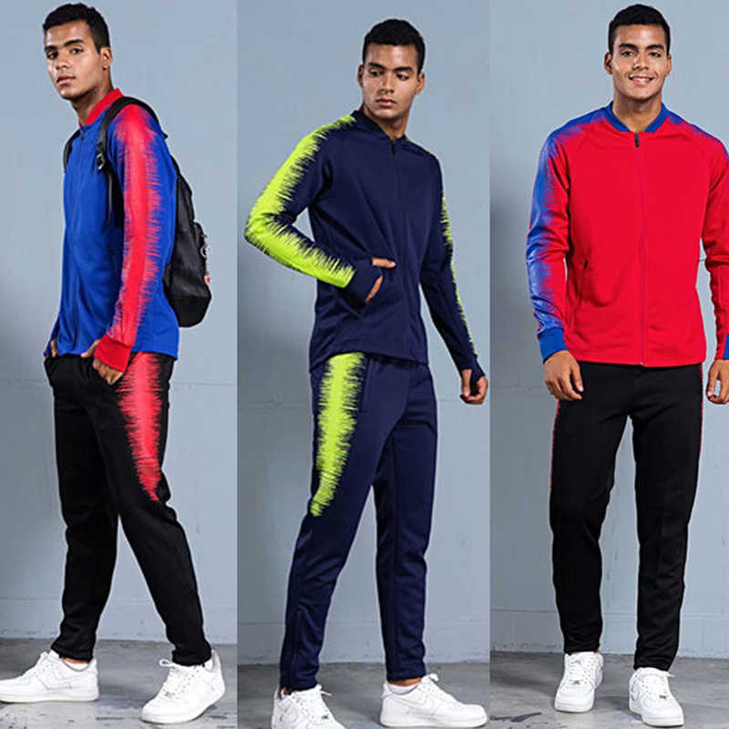 400cfd4d Для бега спортивная одежда 2018 мужской, футбол спортивная куртка Штаны  спортивные костюмы зимняя спортивная одежда