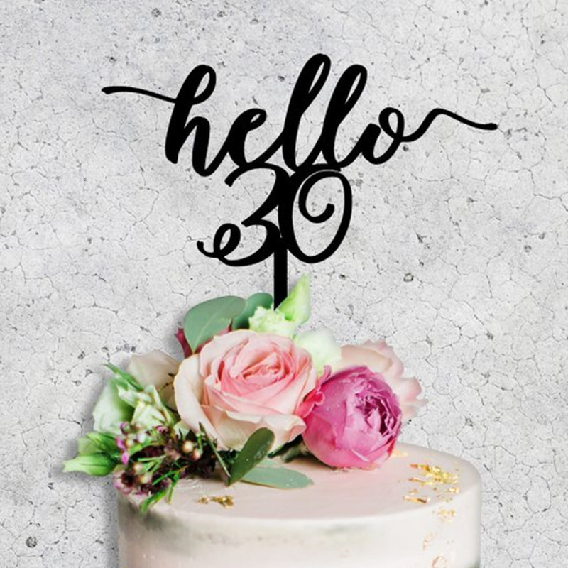 Hello <font><b>30</b></font> Cake Topper 30th birthday cake topper <font><b>30</b></font> years Anniversary wedding cake <font><b>decoration</b></font> topper supplies image