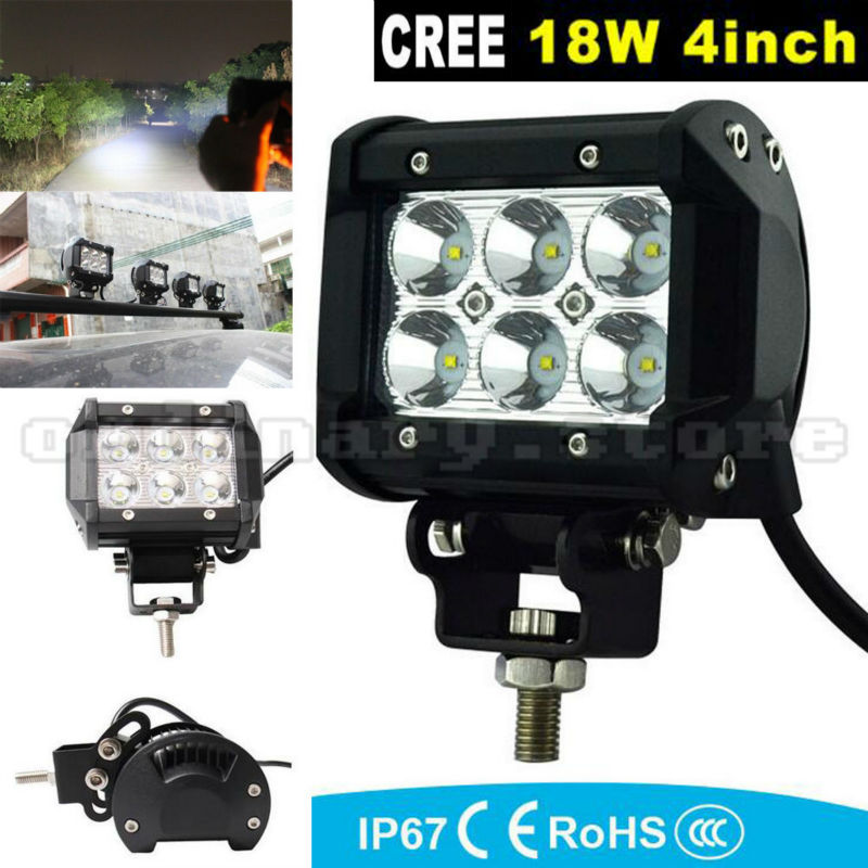 Super Bright 18W 6 LED Car Auto Truck Offroad SUV 4WD ATV Boat Bar Work Spot Light Driving Fog Night Safety Lamp Waterproof 18w work lights spot lamp off road driving fog 6 led bar atv 4x4 truck suv car styling auto parts accessories