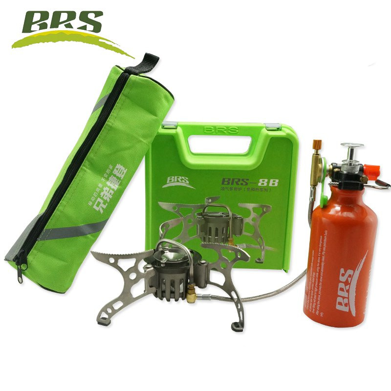 BRS-8B Outdoor Mountain Camping Stove Split-Type Oil 530ml oil Bottle Gas Multi-Fuels Non-Preheating Stove jeebel oil stove oil box pumb outdoor oil and gas mixing non preheating oil gas mixing pump with plastic box camping