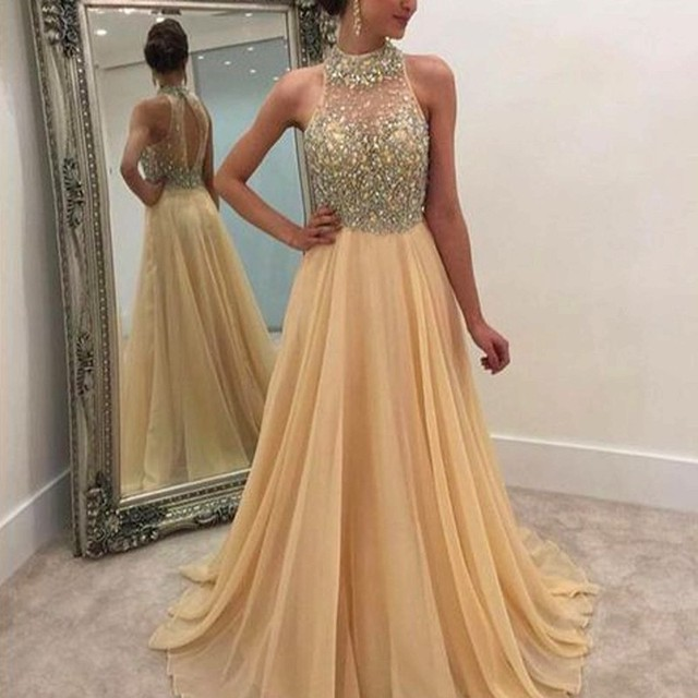 d376579e92b43 2017 Glitter Crystals Beaded Chiffon Prom Dress A Line High Neck Sleeveless Open  Back Evening Dress Vestidos De Gala Vestido D