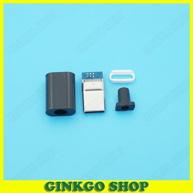 20sets 4Pin Glod Pated Type-c 2.0 Usb-C Male Plug Micro Usb Male Socket