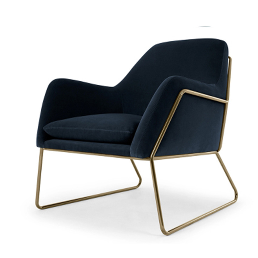 Modern Fashion Single Sofa Chair Armrest Nordic Minimalist Sofa Living Room  Chair Flannelette Soft Seat Cushion Metal Iron Frame