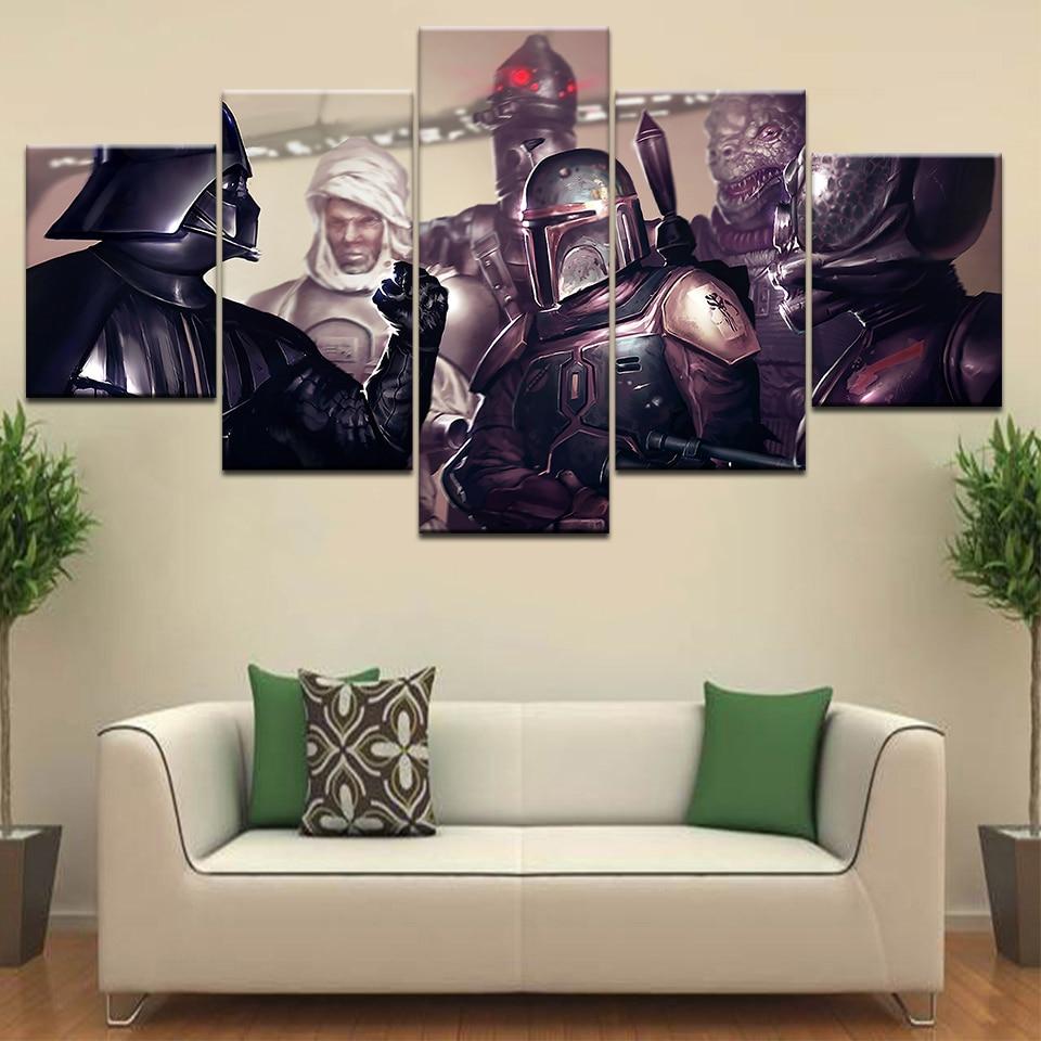 Star Wars Bounty Hunter game Wallpaper 5 panel HD Print modern Modular posters Canvas Art painting For home living room decor