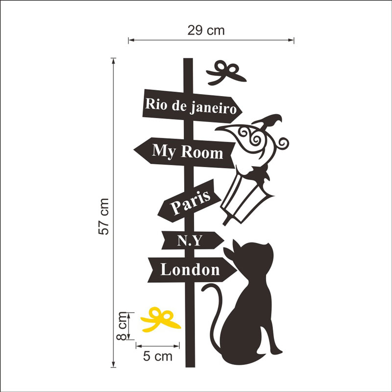 Street cat vinyl sticker Removable waterproof Bedroom self adhesive living room home decor Generation pvc wall stickers