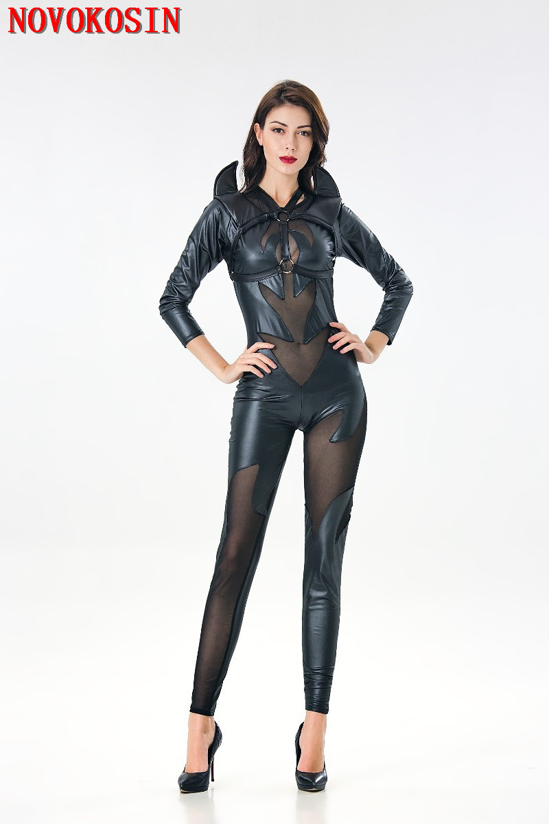 YQ107 <font><b>2018</b></font> New <font><b>Halloween</b></font> <font><b>Sexy</b></font> Scary Costumes <font><b>Women</b></font> Faux Leather PU Bodysuit Patchwork Transparent Tulle Demon Back Horn Costumes image