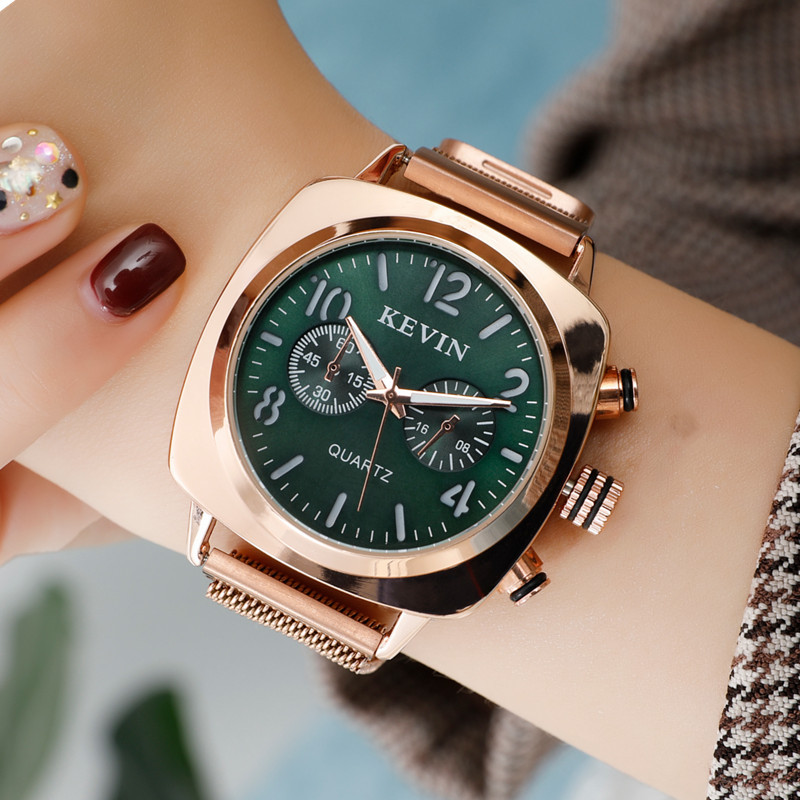 Women Watches Magnetic Milanese Mesh Band Clock Rose Gold Square Watch Female Ladies Fashion Nylon Wrist Watch Montre Femme 2019