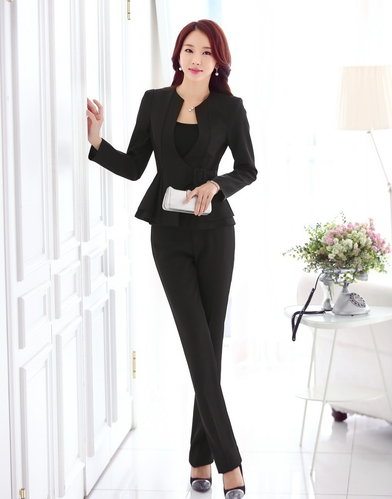 Formal Ladies Pant Suits For Women Work Wear Suits Trousers And Blazer Jackets Sets Office ...