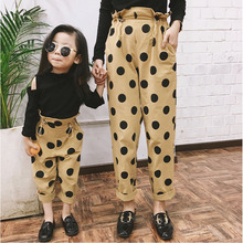 Family Christmas Pants Mom and Kids Family pants Polka Dot Harem Pants for Girl High Waist Leggings Trousers Mother and Daughter polka dot print capri pants