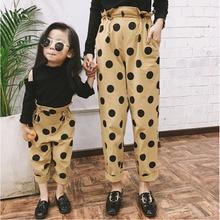 Family Christmas Pants Mom and Kids Family pants Polka Dot Harem Pants for Girl High Waist Leggings Trousers Mother and Daughter цена