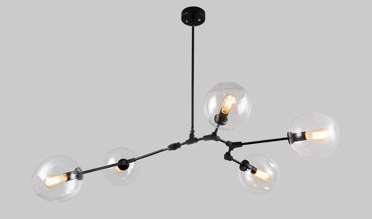 NEW Lindsey Adelman vintage glass pendent lamp 1/3/5 heads  molecular shape creative pendent lights for dining room A033-1 modern creative nordic1 3 5 ring shape acryl pendent lamp for hall restaurants dining room hanging lamp ac 90 265v a133