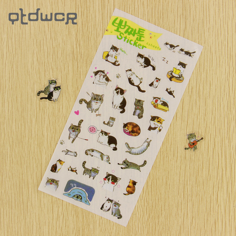 6PCS DIY Cartoon Cats Transparent Sticker Lovely PVC Diary Deco Stickers for Children Gift Stationery Sticker цена и фото