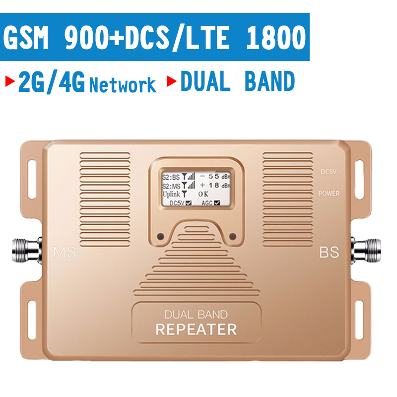 350 Square Meter 2G 4G GSM 900 DCS LTE 1800mhz Cellular Signal Repeater 4G Dual Band Amplifier AGC Mobile Phone Signal Booster