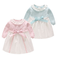 Children Clothing 2019 New Baby Girls Long Sleeved Princess Dress Infant Girls Birthday Party Clothes Pink Bow Knit Dress Gown
