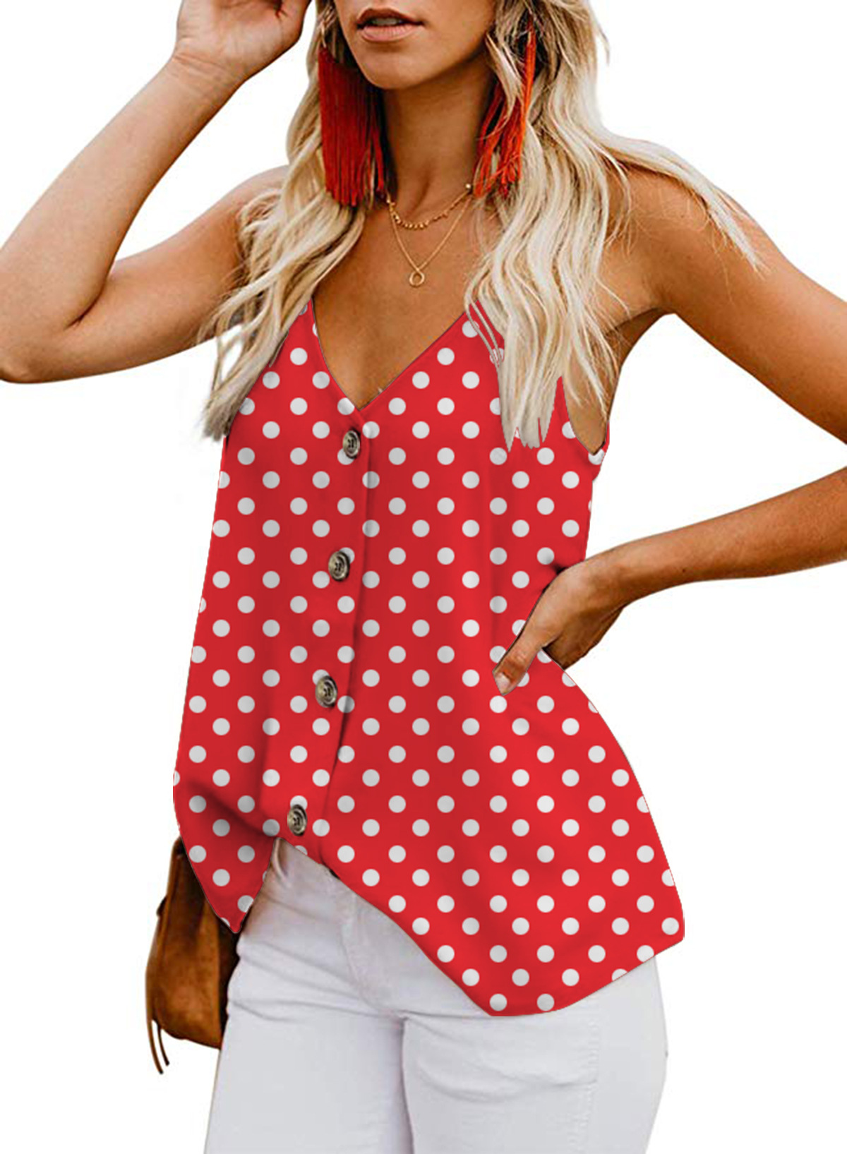 Sexy Polka Dot Short Tops Women Camis 2019 Fashion V Neck Sweet Ladies Strap Blouses Casual Blusas Mujer in Camis from Women 39 s Clothing
