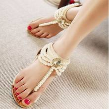 Free Shipping 2017 Summer Fashion pearl sandals Women Sandals Flops Flat Shoes Open Toe Women Wedges Sandals Women's Sandals