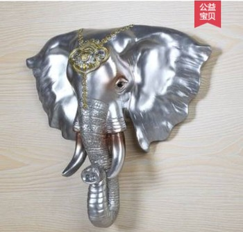 Stereo elephant pendant European living room porch animal head wall hanging retro wall bar decoration home Crafts sculpture