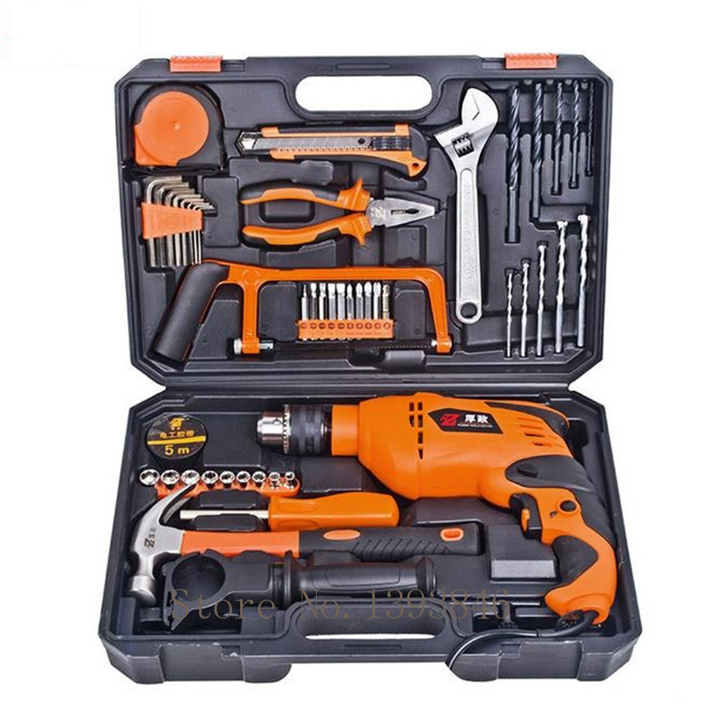 49pcs Electrodrills Household Tool Set Repair Hardware Tools Woodworking Electric Hardware Tools Suit Drill Percussion Drill percussion drill sparta 94813
