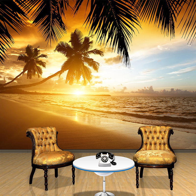 Custom 3D Poster Photo Wallpaper For Living Room TV Background Wall Covering Sunset Glow Coconut Sea Landscape Mural Wallpaper