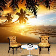 Custom 3D Wallpaper  Covering Sunset Glow Coconut Sea