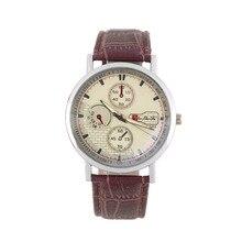 Homens elegantes Relógios de Couro Falso Vidro Esplêndida Faux Analog de Quartzo Analógico Relógio de Pulso Relógios Casuais Relógio Marca de relogio