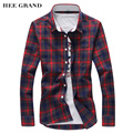 HEE GRAND Shirt Men 2017 New Arrival Casual Plaid Shirts Turn-Down Collar Slim Fashion Camisa Masculina M-5XL Plus Size MCL1069