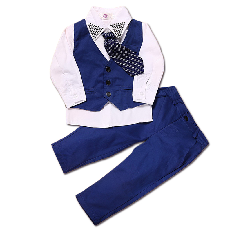 24-7T Boys Costume Shirt+Vest+Trouser 3pcs Boys Clothing Sets 2018 Spring Gentleman Style Boys Clothes Children Clothing for Boy