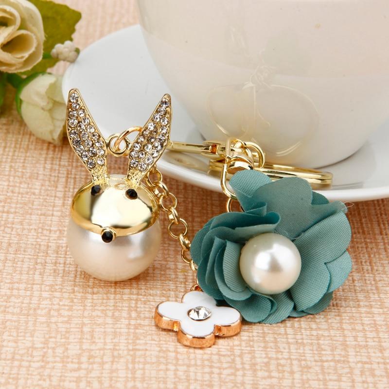 Creative cartoon animal key ring cute rabbit car keychain crystal female bag pendant Rhinestone key chain
