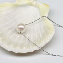 925 silver real natural big [clever] natural Jasmine Pearl Pearl Pendant Necklace round silver S925 clavicle simple fashion