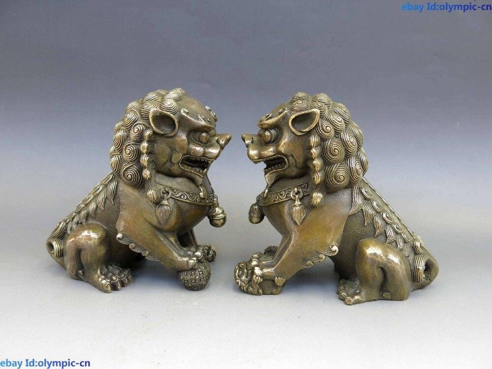 Chine Feng Shui laiton cuivre maison de ville Foo chiens Lion paire Sculpture StatueChine Feng Shui laiton cuivre maison de ville Foo chiens Lion paire Sculpture Statue