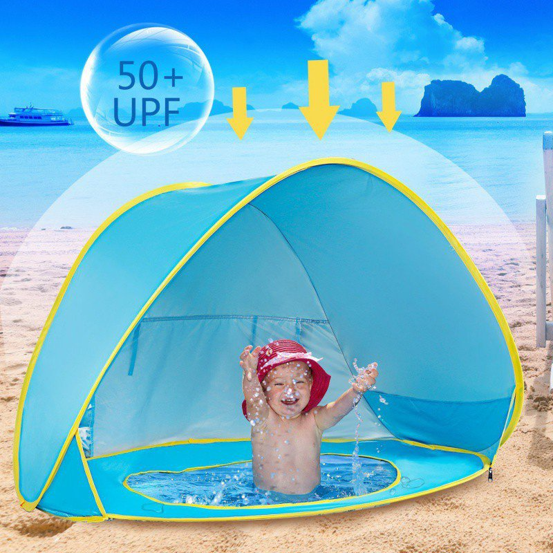 Baby Beach Tent UV-Protecting Sun Shelter With A Pool Waterproof Pop Up Awning Tent Kid Camping Sunshade With A Storage Bag