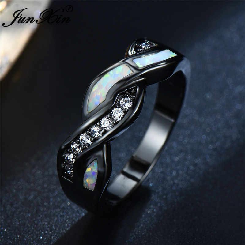 Boho หญิงสีฟ้าโอปอลหินแหวนเงินสีดำแหวนแต่งงานสัญญา Cross หมั้นแหวน