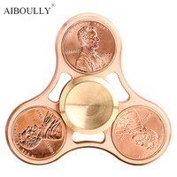 New Dollar Tri Spinner Fidget Toy Metal Pure Copper EDC Hand Spinner For Autism And ADHD