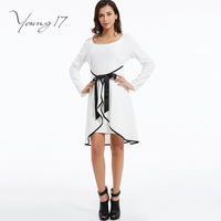 Young17 Sexy Ruffles Bodycon Dress South Korean Style White Women Dress Full Sleeve Autumn Spring Mini