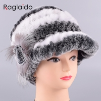 Raglaido Women Skullies femme Beanies Real fur hat Winter Rex Rabbit Floral Caps hand knitted brim Snow hats Russia love LQ11205