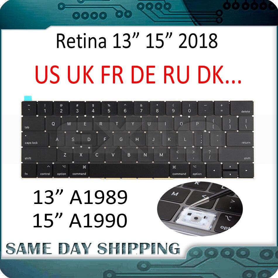 Mid 2018 New for Macbook Pro Retina 13 15 A1989 A1990 Keyboard US UK English French German Russian Danish Italian Keyboards