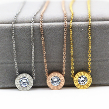 Romantic Roma numerals white crystal Round Pendants & Necklaces ,three colors Charms choker colar maxi necklace christmas gift