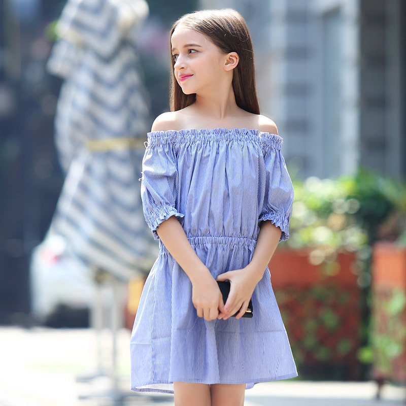 b2fa2aef2f7ad 2017 Teens Girls Blue Stripe Dress Navy Style Off Shoulder Dresses Frock  Design Cute for Kids Age 8 9 10 11 12 13 14 Years Old
