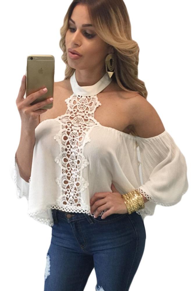 Buy 2017 summer women blouses white chocker neck sexy off shoulder ruffle crop - Top femme sexy ...