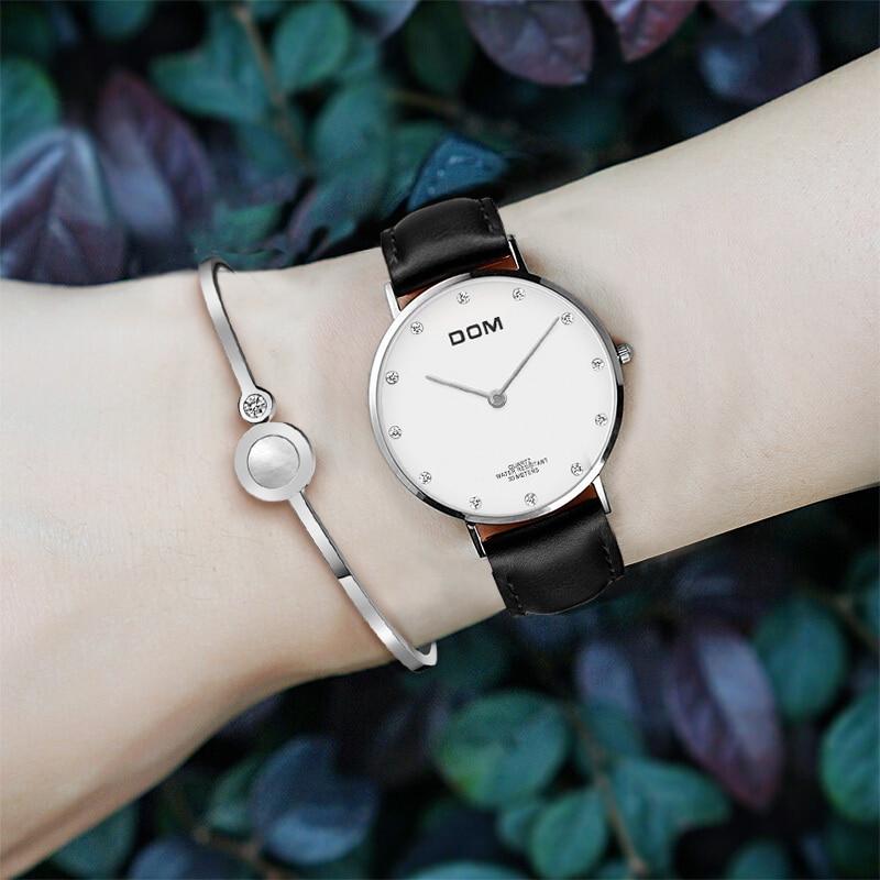 Часы женские DOM Топ бренд класса люкс водонепроницаемые повседневные кварцевые часы ремешок ультра тонкие часы Relog G-36L-7M