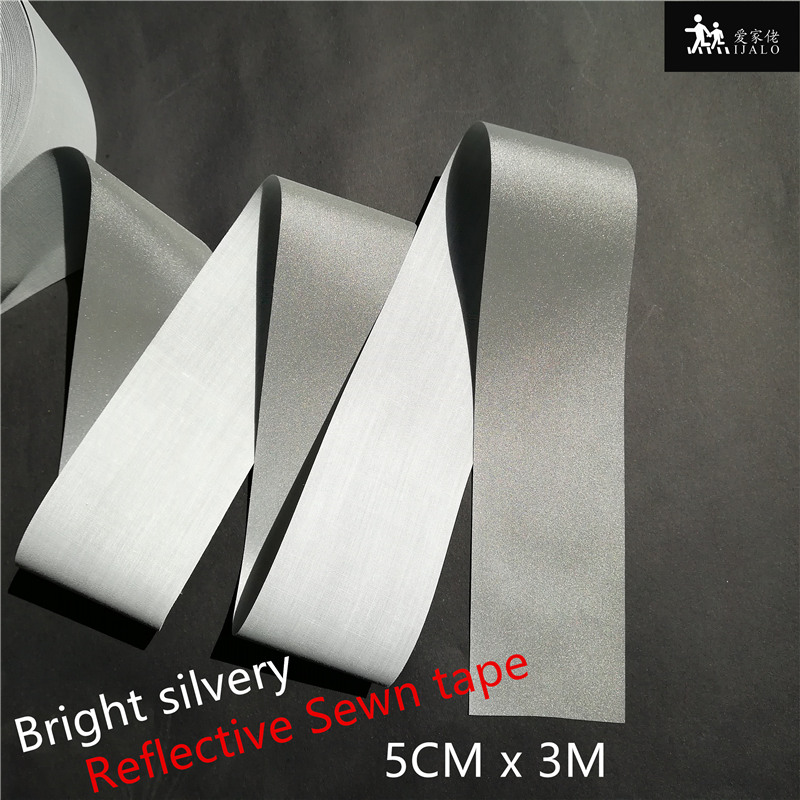 DIY 3/4/5CM Bright Silvery Grade Sew On High Visibility Reflective Tape For Sewn On Clothing Bags For Visibility Safety Use