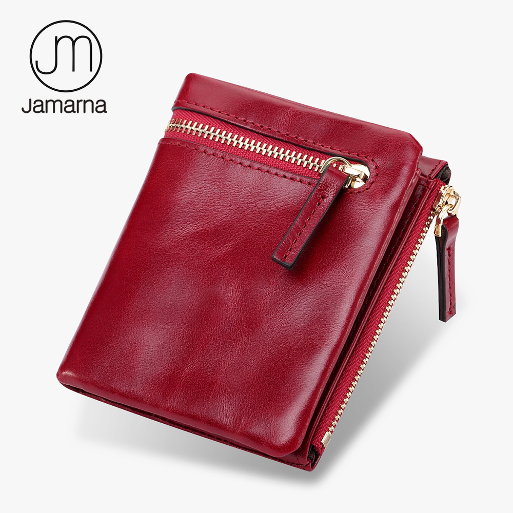 Jamarna Genuine Leather Wallet For Women Small Ladies Double Zipper Coin Purse Card Holder High Quality Short Wallet Female Red dollar price women cute cat small wallet zipper wallet brand designed pu leather women coin purse female wallet card holder