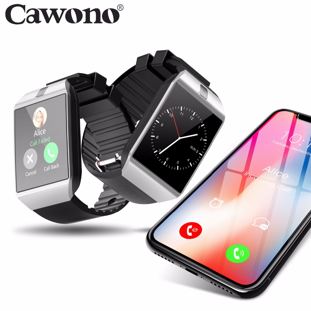 CAWONO smart watch Relogio celular smartwatch a prova d ' água DZ09 relogios Relógio Inteligente wearable devices Do Bluetooth Anti-lost Dispositivos Wearable com Câmera SIM Card TF para relogio Android Apple VS Y1