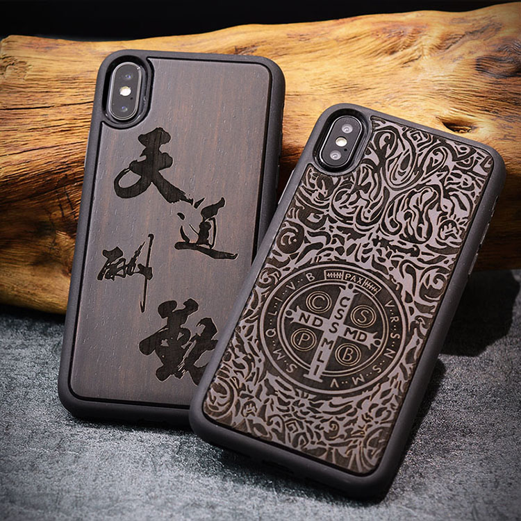 For iphone X wood case cover Retro Wood & Silicone capa customized carving wooden For iphone X 5.8 case business fundas caso
