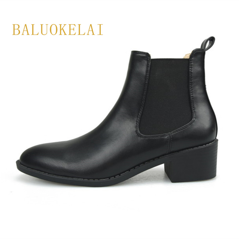Women High Heel Ankle Boots Slip-On Autumn Round Toe Square Heels Lady Shoes Black PU Leather Size 34-40,K-023 basic 2018 women thick heel ankle boots black pu fleeces round toe work shoe red heel winter spring lady super high heel boots