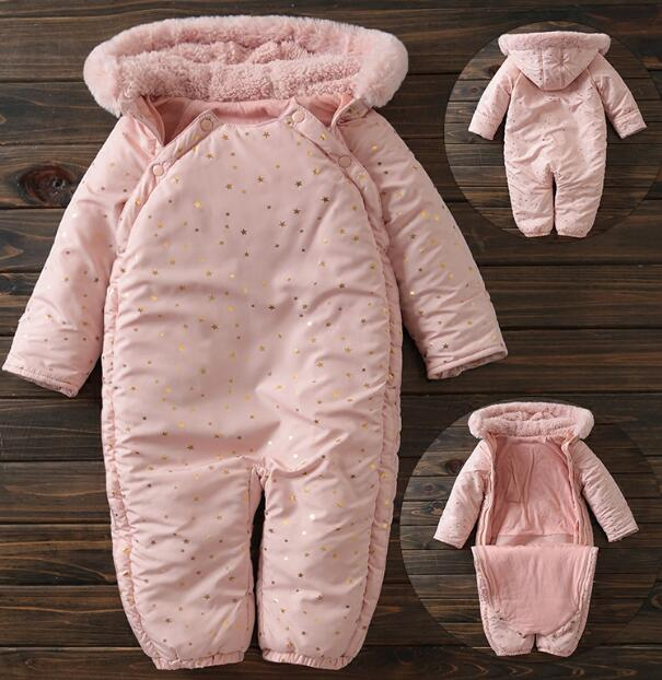 Newborn winter coveralls thicker plus cotton jumpsuit warm and soft cotton lining baby rompers overalls cotton baby rompers set newborn clothes baby clothing boys girls cartoon jumpsuits long sleeve overalls coveralls autumn winter