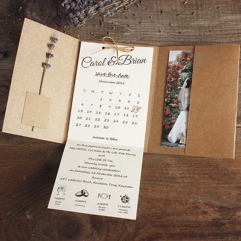 Us 135 0 Kraft Pocket Wedding Invitations Rustic Invites Custom Wording Print Set Of 50 Pcs In Cards From Home Garden On