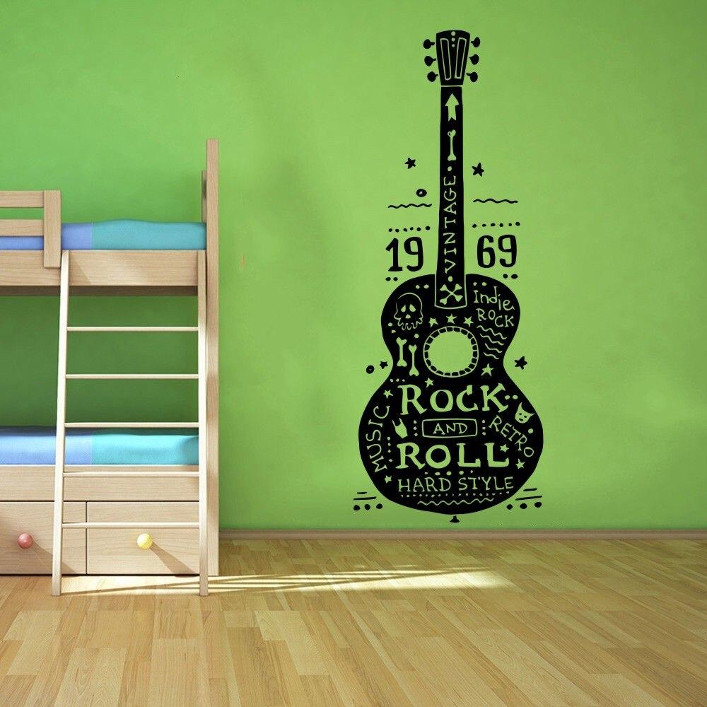 ᓂGratis Verzending Kwaliteit Muurstickers Gitaar Rock en Roll ...