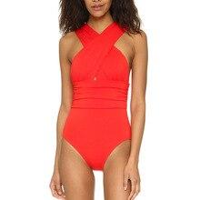 2018 Black Red Sexy Cross Halter women swimwear one piece swimsuit Black red Solid women bathing suits Beach Wear Swim