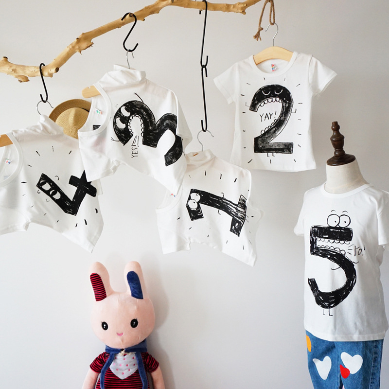 Children T Shirt Boys Girls Printed Number Cotton Short Sleeved T-shirt Baby Clothing Tees Birthday T-shirt for 1-5 Birthday new hot sale 2016 korean style boy autumn and spring baby boy short sleeve t shirt children fashion tees t shirt ages
